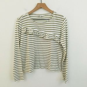 Lucky Brand Ruffle Stripe Long Sleeve Top Small